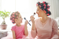 Mom and child doing makeup - PhotoDune Item for Sale