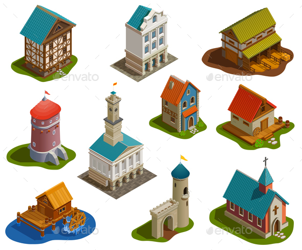 Medieval Buildings Isometric Set - Buildings Objects