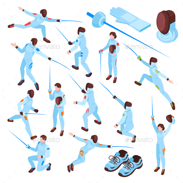 Fencing Sport Isometric Set - Miscellaneous Vectors
