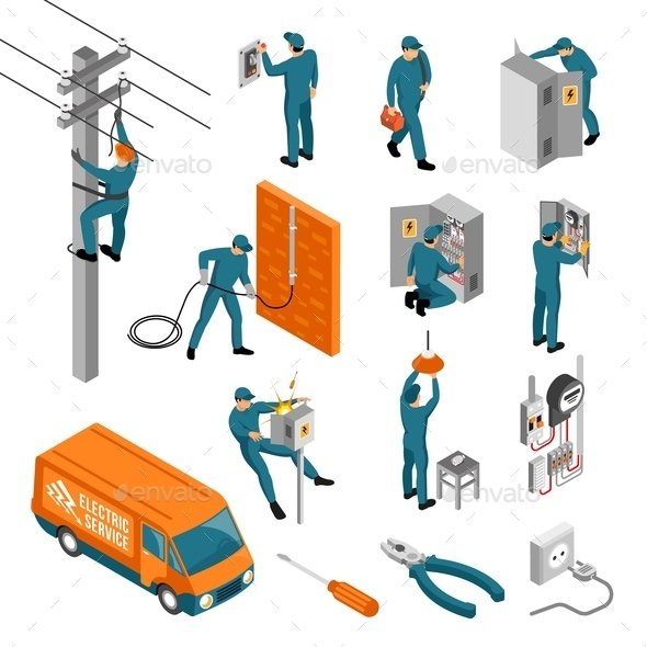 Electrician Isometric Icons Collection - Industries Business