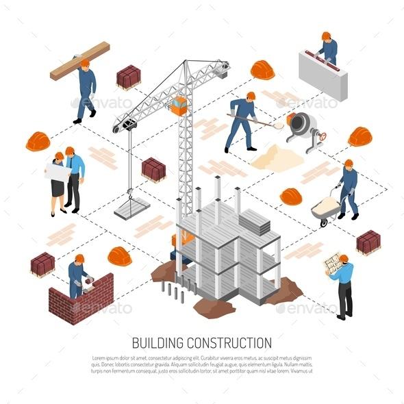 Isometric Building Construction Flowchart - Industries Business