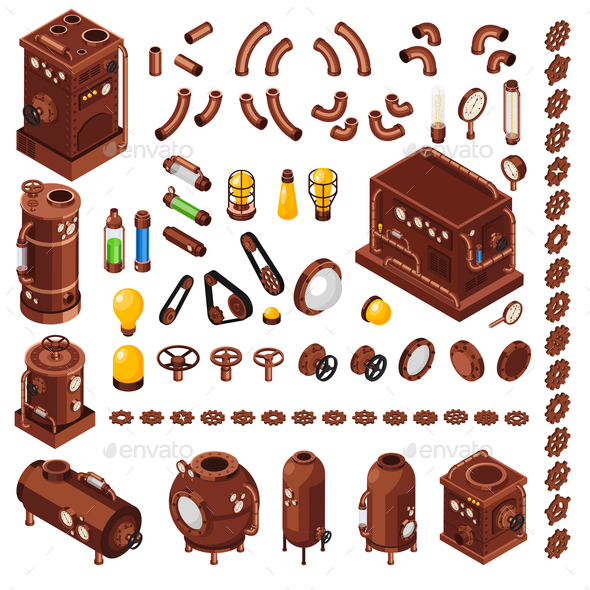 Steampunk Isometric Constructor - Industries Business