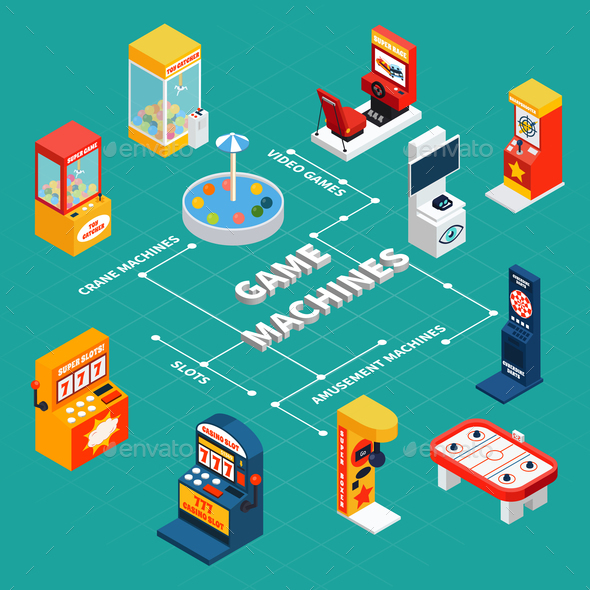 Game Machine Isometric Infographics - Miscellaneous Vectors