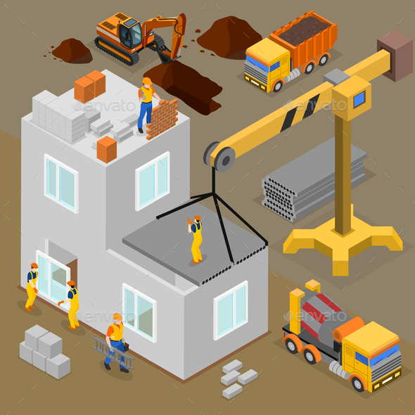 Modern Construction Isometric Composition - Buildings Objects