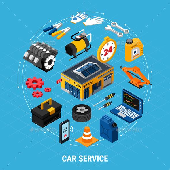 Car Service Concept Illusrtation - Services Commercial / Shopping