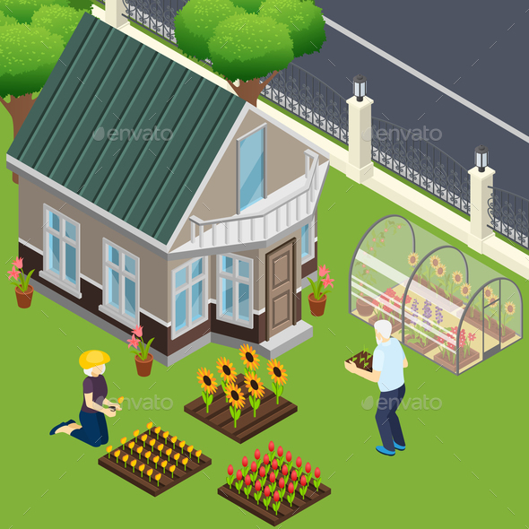 Pensioners Garden Work Isometric Illustration - People Characters