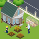 Pensioners Garden Work Isometric Illustration
