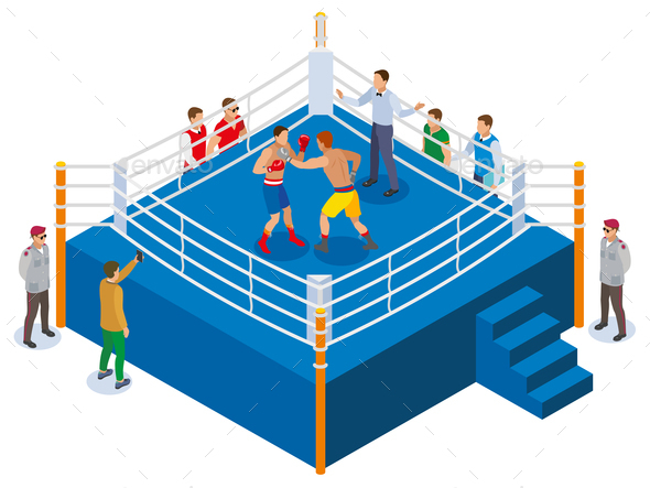 Boxing Ring Isometric Composition - Sports/Activity Conceptual