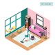 Tired Housewife Isometric Composition