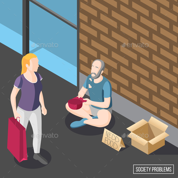 Society Problems Isometric Background - Food Objects