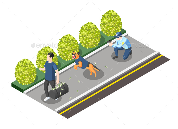 Policeman and Dog Going For Robber - Miscellaneous Conceptual