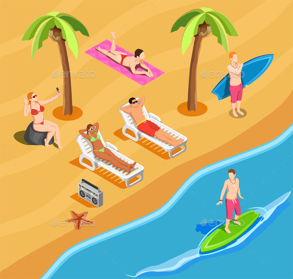 Beach Vacation People Isometric Composition - Sports/Activity Conceptual