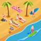 Beach Vacation People Isometric Composition