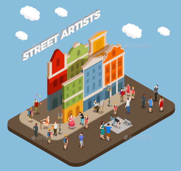 Street Artists Isometric Composition - Buildings Objects