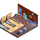 Bowling Club Interior Isometric Composition