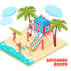 Lifeguard Booth Isometric Composition