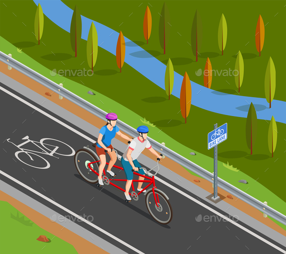 Bicycle Tandem Trip Isometric Composition - People Characters