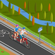 Bicycle Tandem Trip Isometric Composition