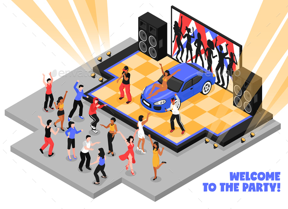 Welcome to The Party Isometric Illustration - Miscellaneous Vectors