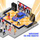 Welcome to The Party Isometric Illustration