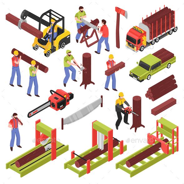 Lumberjack Isometric Icons Set - Miscellaneous Vectors