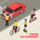 Eco Transport Isometric Poster
