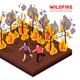 Wildfire Isometric  Illustration