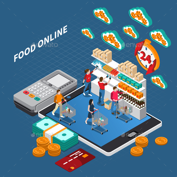 Mobile Shopping Isometric Composition - Food Objects
