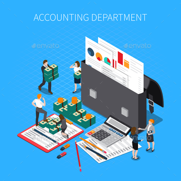 Accounting Department Isometric Composition - Concepts Business