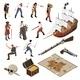 Pirates Isometric Icons Set