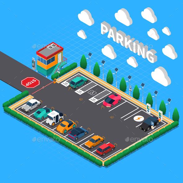 Parking Lot Isometric Composition - Miscellaneous Vectors