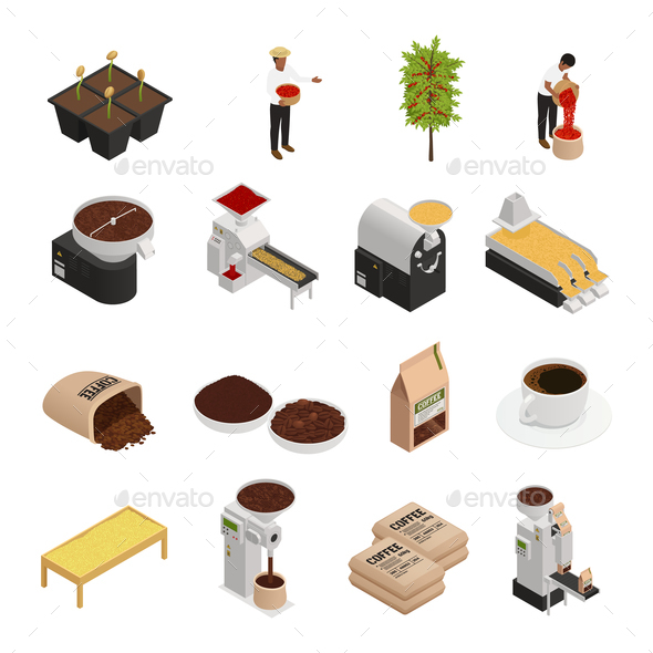Coffee Isometric Icons Collection - Industries Business