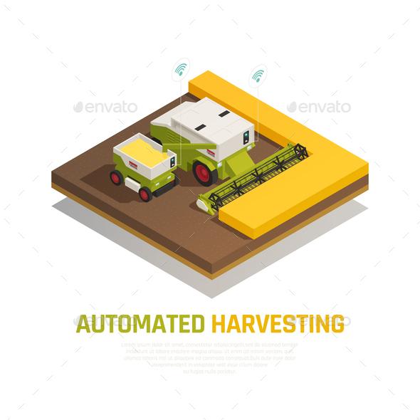 Harvesting Automatics Isometric Background - Industries Business