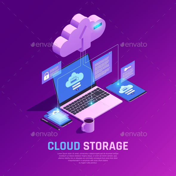 Cloud Workspace Isometric Background - People Characters