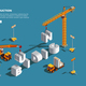 Construction Vehicles Isometric Composition