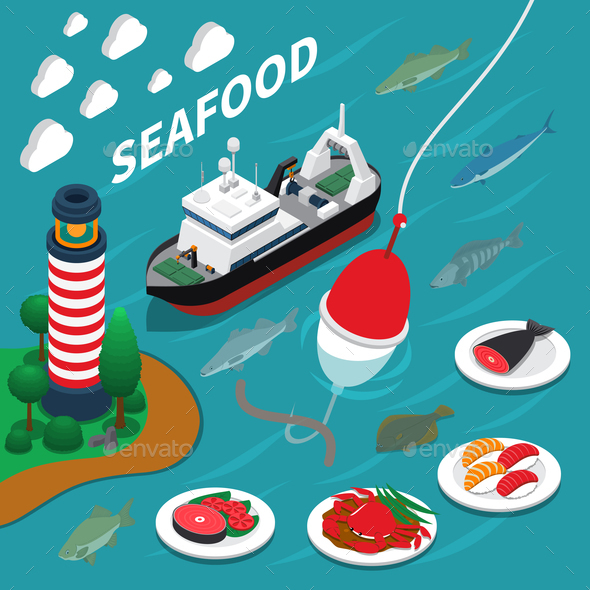 Seafood Isometric Composition - Miscellaneous Vectors