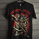 Grunge Design T-Shirt with Bloody Fight Illustration