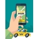 Taxi Order. Urban Transportation Hand Holding - GraphicRiver Item for Sale