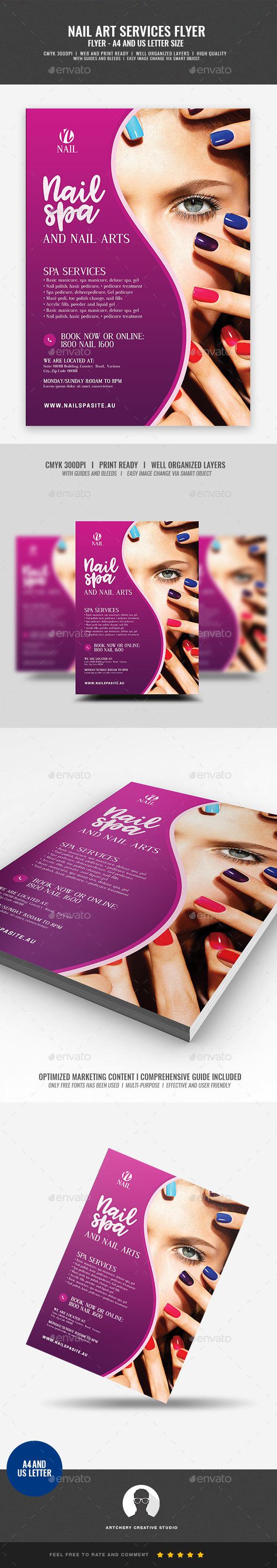 nail salon services flyer by artchery graphicriver