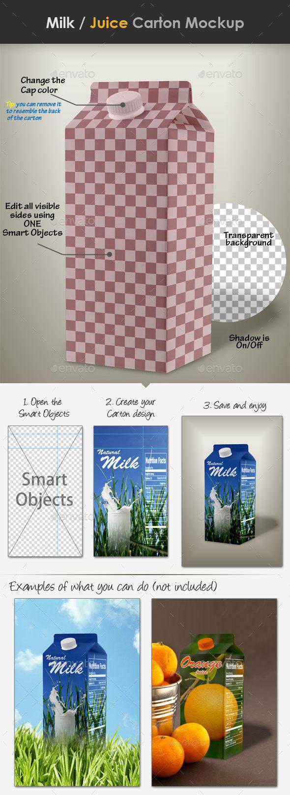 Milk / Juice Carton Mockup - Food and Drink Packaging