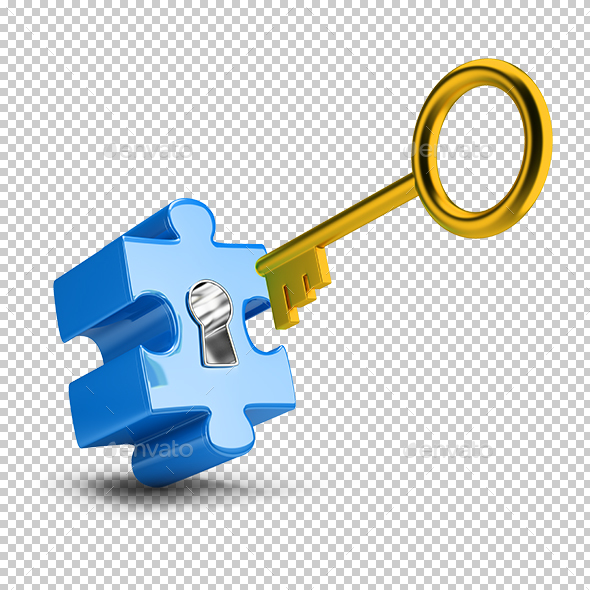 Key and Puzzle - Objects 3D Renders