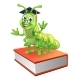 Graduate Caterpillar Bookworm Worm on Book - GraphicRiver Item for Sale