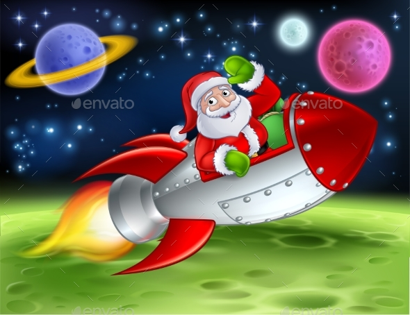 Santa in Space Rocket Cartoon Illustration - Christmas Seasons/Holidays