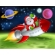 Santa in Space Rocket Cartoon Illustration - GraphicRiver Item for Sale