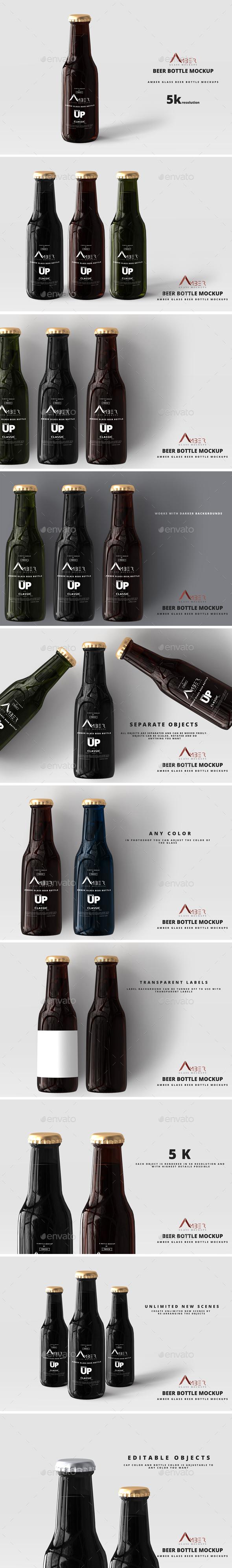 Amber Glass Beer Bottle Mockup 04 - Food and Drink Packaging