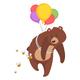 Cartoon Bear with Balloons