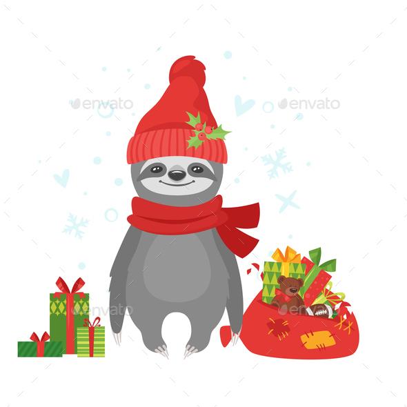 Sloth Santa - Animals Characters