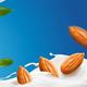 Realistic Splash of Almond Milk with Nuts