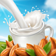 Almond Milk Pouring into Cup at Farmland