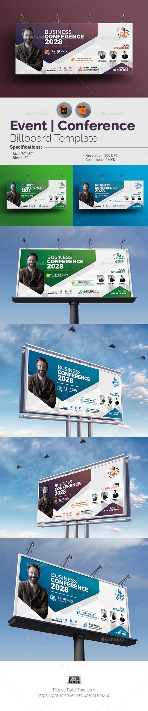 Conference Billboard Template - Signage Print Templates